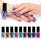 Magic Mirror Effect Nail Art Polish Purple Gold Silver Metallic Chrome Varnish