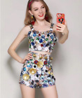 Occident Christmas New stereo sequins bead printing fashion short pants hot suit