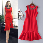 New Occident round neck manual nail drill makings fishtail Cocktail dress SMLXL