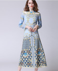 Occident spring designs novel fashion printing water soluble hollow dress SMLXL