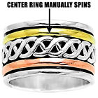 Two Tone Spinner 925 Sterling Silver Wide Band Ring Jewelry DGR1023