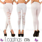 Womens White Leggings Ripped Diamante Skinny Dance Gothic Punk Ladies New UK  ❤