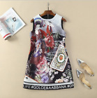 New Occident stereo set auger petals beading CARDS printed vest xmas dress SMLXL