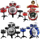 LOT 11pc Kids Boy Girl Drum Set Musical Instrument Toy Playset Black Blue Red TO