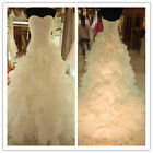 White/Ivory Organza Wedding Dress Bridal Gown US STOCK Size 6 8 10 12 14 16 18 #