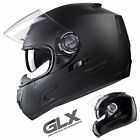 GLX Full Face Motorcycle Helmet Dual Visor Street Bike Black [DOT]