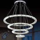 4 Rings LED Crystal Chandeliers Lights Remote Control Pendant Lamp Fixtures