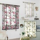 sheer yellow curtains - US Tulle Rod Kitchen Bathroom Window Roman Curtain Floral Sheer Voile Valances