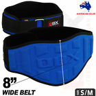 Weight Lifting Belt 8 Inch Wide Gym Fitness Back Support Neoprene Blue - S/M