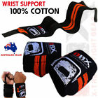 Weight Lifting Wrist Support Bandage Elasticated Gym Workout Wraps Orange - PAIR