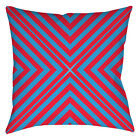 "ZEZECYRK THROW PILLOW Blue Red 14"" 16"" 18"" Geometric Retro Beach Circus Cover"