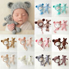 US Stock Newborn Baby Girls Boys Photography Prop Crochet Knit Costume Bear Hat