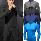 Men's Compression Tops Running Training Zip Neck Gym Workout Base Layers Dri-fit