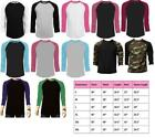 Long Sleeve Plain T-Shirt Baseball Tee Raglan Jersey Sports Men's Tee image