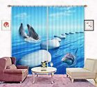 3D Blue Sea Dolphins 1 Blockout Photo Curtain Printing Curtains Fabric Window AU