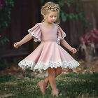 Vintage Princess Kids Baby Girls Dress Lace Floral Party Dress Casual Dresses