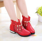 New Summer Spring Kids Young Girls Lace Pearls Ankle Dress Party Boots Leather