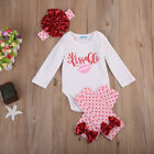 4Pcs Newborn Baby Girl Kissable Valentine Top Romper Pants Outfits Clothes Set