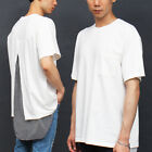 Men's fashion Back Split Layered Stripe Hem Loose Fit Boxy Tee 322, GENTLER SHOP