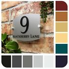 HOUSE NUMBER SIGN MODERN ADDRESS PLAQUE or PROPERTY PLATE GLASS/SLATE EFFECT