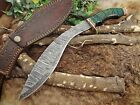 "15"" Damascus steel hunting Kukri knife, Green 2 tone wood, Cow Leather sheathCustom & Handmade - 43325"