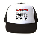 Trucker Hat Cap Foam Mesh Happiness Is A Cup Of Coffee And My Bible