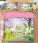 3D Lake Unicorns Bed Pillowcases Quilt Duvet Cover Set Single Queen King Size AU