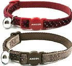 VELVET SPARKLE CAT COLLARS - (safety buckle & bell) - Ancol Safe bp Pet Collers