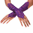 US FAST Bride Wedding Party Evening Dress Fingerless Costume Lace/Satin Gloves