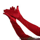 US FAST Bride Wedding Party Evening Dress Fingerless Costume Lace-Satin Gloves