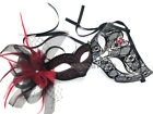 Couple Feather Veil Fascinator Red Masquerade mask birthday Flapper Party NEW