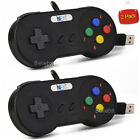 Black Xbox 360 & SNES Wired USB Controller Gamepad Joystick for Windows PC Games