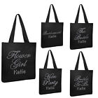 Personalised BLACK Bridal TOTE BAG Luxury Girl's Storage Shoe hen party gift bag