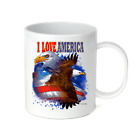 Coffee Cup Travel Mug 11 15 Oz Patriotic USA I Love America Eagle Words