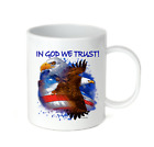 Coffee Cup Travel Mug 11 15 Oz Patriotic USA In God We Trust Eagle