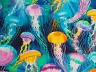 Colorful Jellyfish Ocean Sea Blue Fabric Timeless Treasures 100% Cotton BTHY BTY