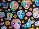Sugar Skulls Fabric Dogs and Cats Black Timeless Treasures 100% Cotton BTHY BTY