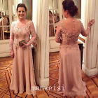 Full Length Mother Of The Bride Dress Long Sleeve Lace Party Gown Custom Size
