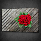 BUNCH OF RED ROSES FLOWERS ON WOOD MOUNTED CANVAS PRINT WALL ART PICTURE PHOTO