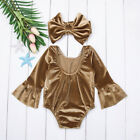 Newborn Baby Kids Girl Romper Bowknot Headband Bodysuit Sweet Clothes Outfit USA