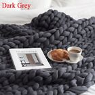 120*150cm Chunky Knit Blanket Throw Wool Thick Line Yarn Handmade Home Decor New