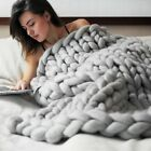 120*150cm Chunky Knit Blanket Throw Wool Thick Line Yarn Handmade Home Decor New image