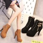 Women Suede High Heels Ankle Boots Platform Toe Stiletto Clubwear Side Zip Shoes