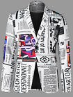 Mens Fashion Newspaper Print Blazer Jacket Coat M-2XL One Button Letter Blazer