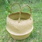 Foldable Seagrass Woven Potted Plants Storage House Flower Vase Hanging BasketQ1