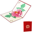 Peony Flower Paper Greeting Card Birthday Festival Postcard
