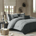 Queen Cal King Bed Gray Grey Black Microsuede Buttons 7 pc Comforter Set Bedding image