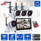 "960P 4/8CH 12""LCD Monitor Wireless Security Camera System WiFi NVR Outdoor 1TB"