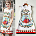 Hot sale Occident round neck fashion bead Printed jacquard party sundress SMLXL