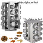 STAINLESS STEEL 12, 16 SPICE REVOLVING STAND ROTATING GLASS JAR STORAGE SET NEW